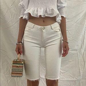 White 90s Cutoff/Bermuda Shorts